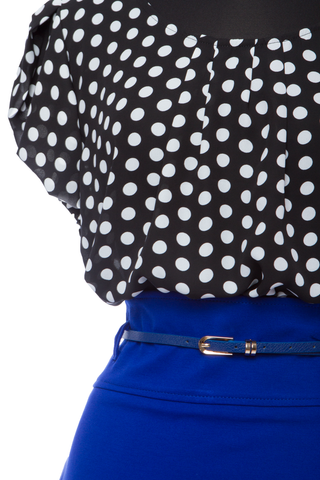 Black/Royal Polka Dot Plus Size 2 Pc Set