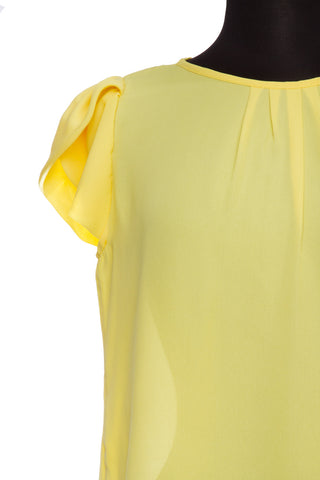 Yellow Bubble Sleeve Top