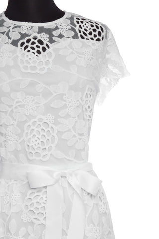 White Crochet Overlay Plus Dress