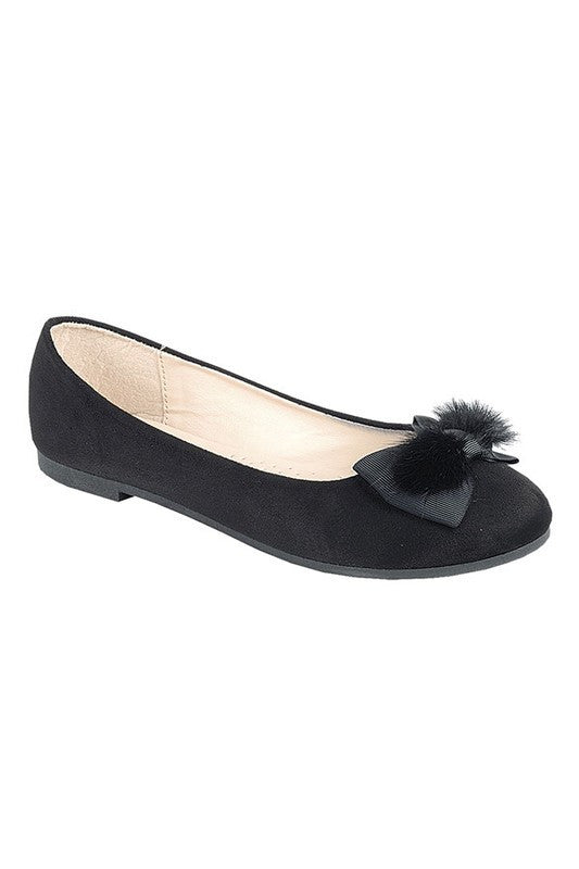 Black Suede Fur Flat