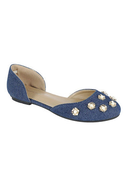 Denim Pearl Flower Flat