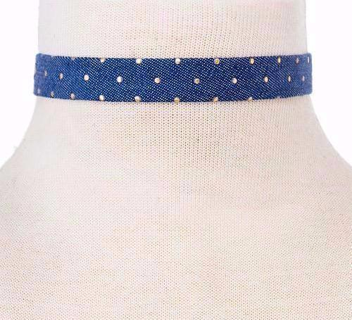 Studded Denim Choker