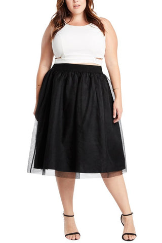 Plus Black Tulle Midi Skirt