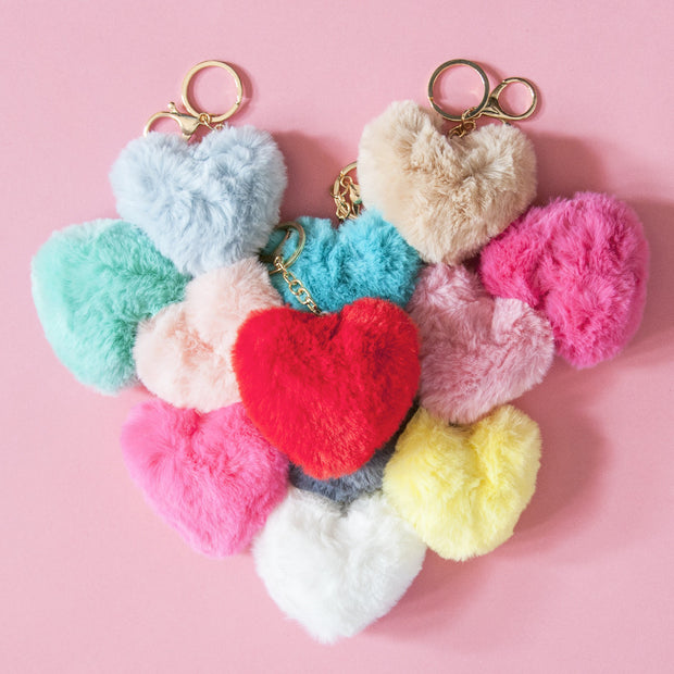 Heart-shaped Pom Pom Keyring