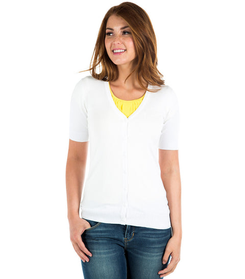White Short Sleeve Sweater