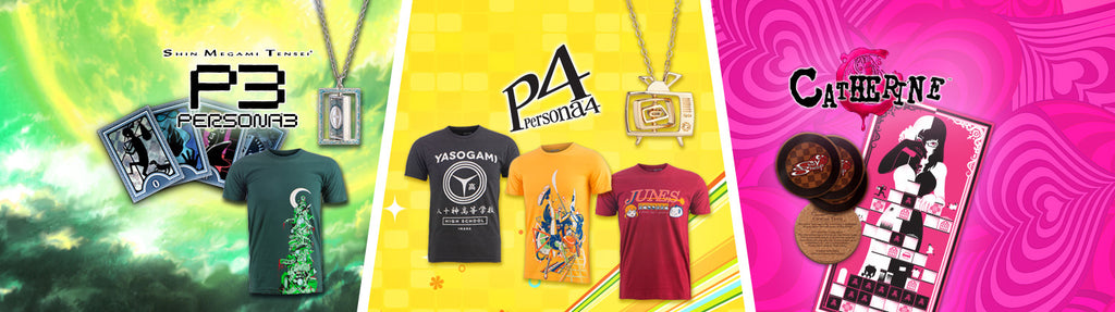 Persona 3, Persona 4, and Catherine! Atlus merchandise now at Sanshee!