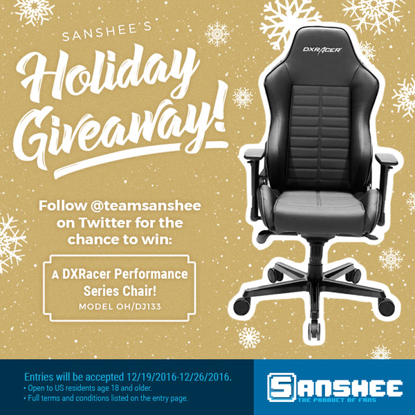 DXRacer giveaway entries are open from 12/19-12/26. Must enter via the Rafflecopter widget below. Must be 18 years or older and within the US to qualify to win.