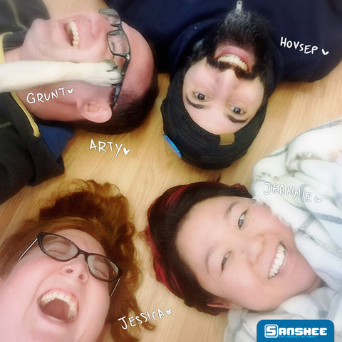 Sanshee Family Photo, but we're on the floor.