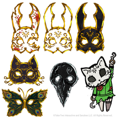 Early concepts for the Splicer Masquerade Blind Box collection and Chibi Kitty Splicer Pins