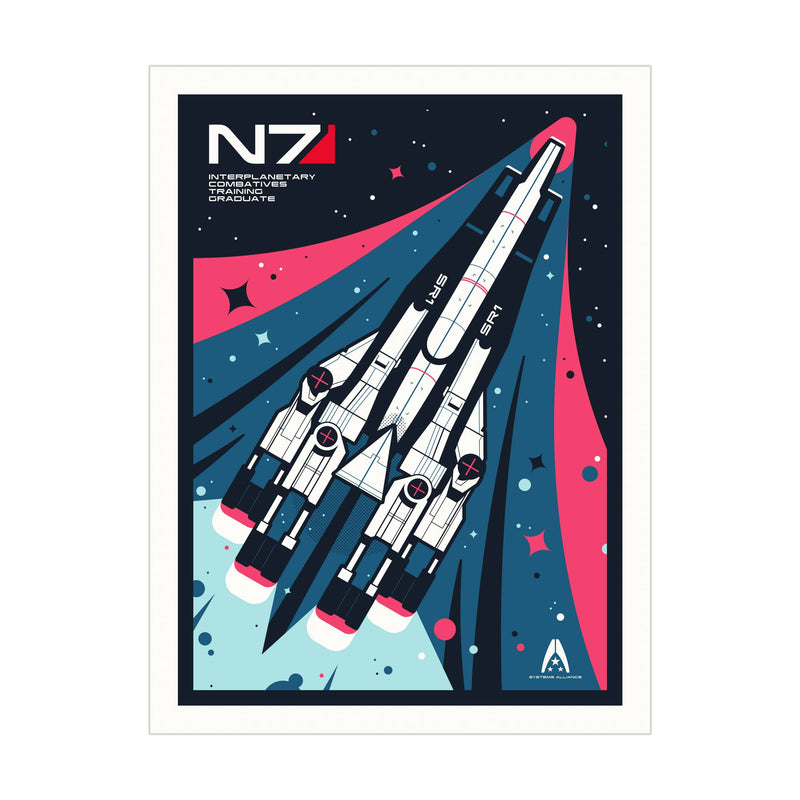 Mass Effect - Limited Edition Normandy Retro Art Print