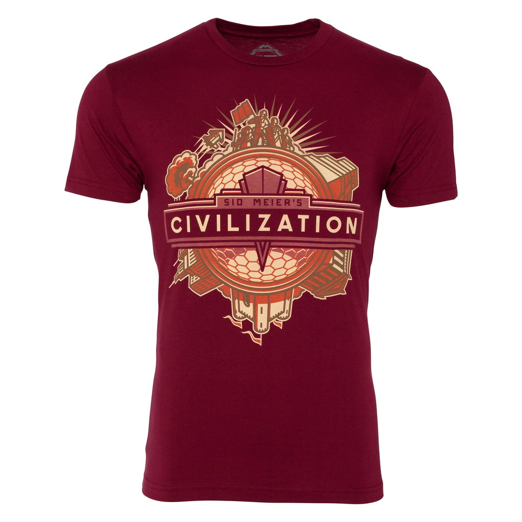 Civilization Deco Premium 100% T-shirt in Maroon