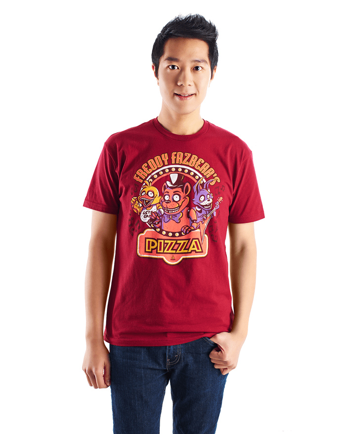 An image of the Freddy Fazbear shirt. It is a dark red shirt, featuring Freddy, Chica, and Bonnie.