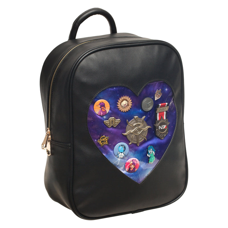 Sanshee - Galaxy Faux-Leather Ita-Bag with pins