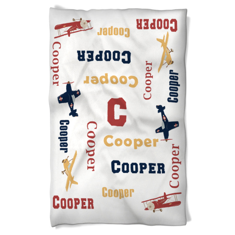 Dog Blanket Personalized Name Vintage Airplanes