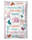 Baby Girl Blanket Features Baby's Name and Cute Birds!