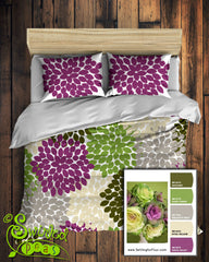 Dahlia Floral Bedding Comforter or Duvet features designer colors! Customize Yours!