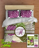 Floral Dahlia Bedding Comforter or Duvet designer colors! Custom Personalized with a Monogram