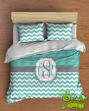 Chevron Bedding Comforter or Duvet features YOUR CHOICE of colors Personalized Monogram!
