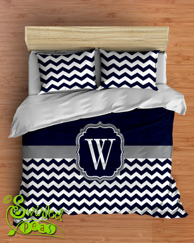 Chevron Bedding in Comforter or Duvet Monogrammed and Customized in Your Colors!