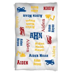 Construction Theme Boy Blanket with Baby's Name in Bright Colors