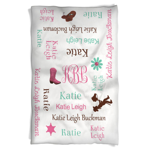 Cowgirl Theme Girl Blanket Personalized with Name and Monogram