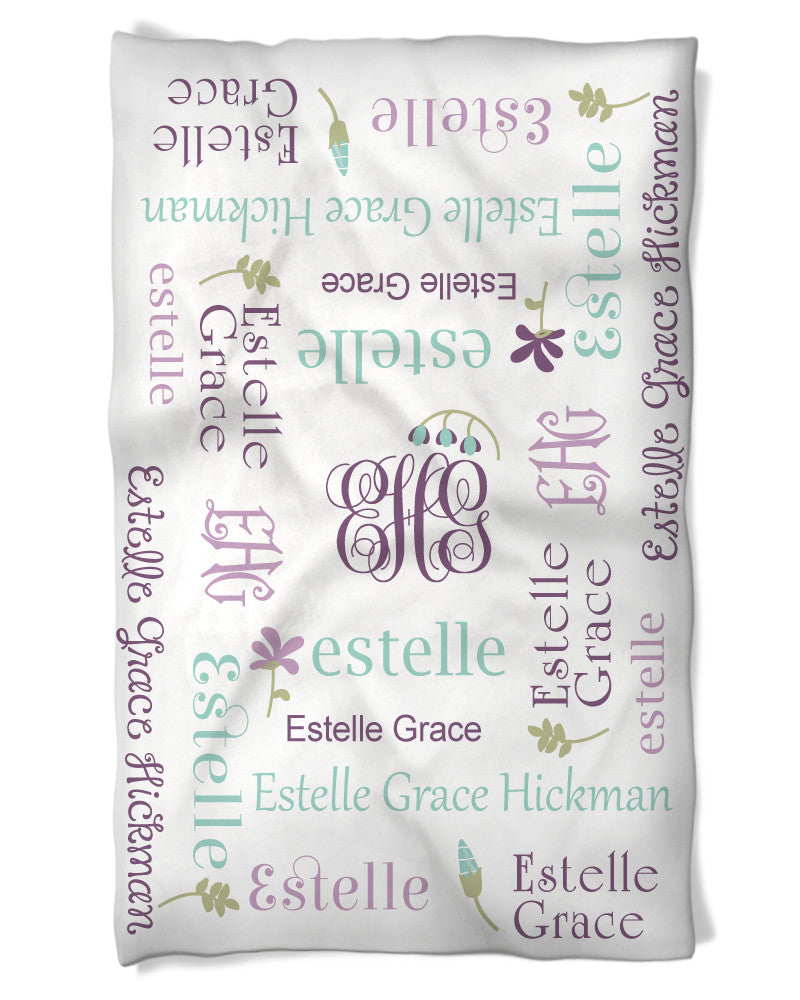 Baby Girl Blanket Features Baby's Name with Flowers