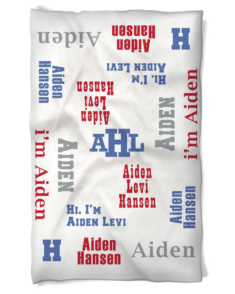 Personalized Baby Blanket Says Hi Baby Boy!