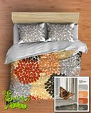 Floral Bedding in Comforter or Duvet Monarch Inspired Dahlia Flower Design