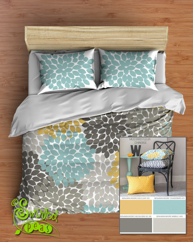 Floral Bedding in Comforter or Duvet Best Selling Yellow, Gray and Aqua Dahlia Flower Design