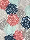 Navy Coral Shower Curtain Dahlia Floral Standard and Extra Long Lengths 70, 74, 78, 84, or 96 inches!