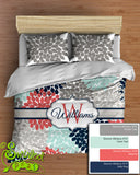 Custom Floral Bedding Comforter or Duvet! Personalized with Your Name in Navy, Coral, Aqua & Gray