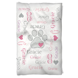 Pink Dog Blanket Personalized with Name