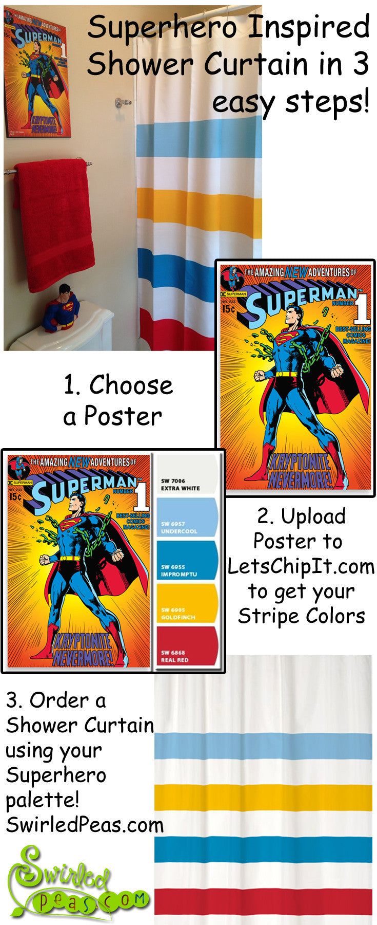 Superman Inspired Striped Shower Curtain