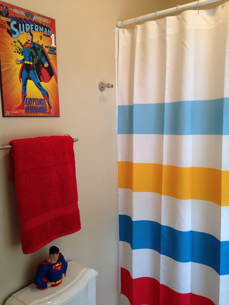 Superman Inspired Striped Shower Curtain Swirled Peas