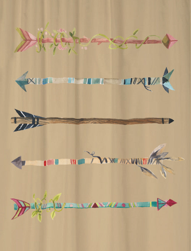 Watercolor Arrows Shower Curtain for your Tribal Bathroom Decor Extra Long Lengths Available