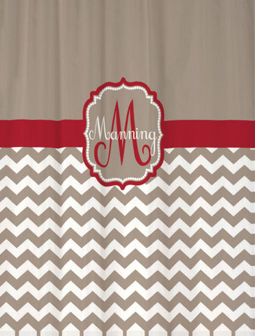 Shower Curtain Chevron Monogram and Name in Your Colors!