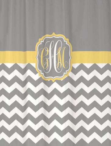 Shower Curtain Chevron Custom Monogram for You. Shown in Cool Gray & Butter Yellow