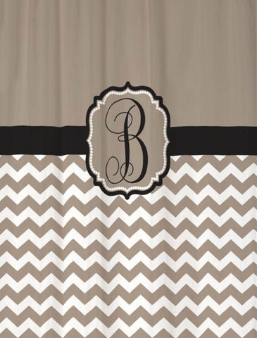 Custom Monogrammed Fabric Shower Curtain Personalized Shown Taupe & Black