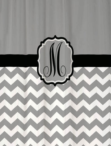 Shower Curtain Chevron Personalized for Your Bathroom in Cool Gray & Black