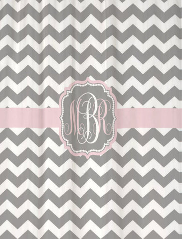 Shower Curtain Chevron Fabric Monogram Personalized Shown Cool Gray & Blushing