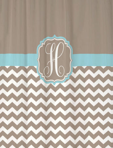 Shower Curtain Chevron Monogrammed Shown in Taupe & Aqua Blue