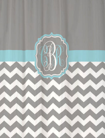 Shower Curtain Chevron Fabric Monogrammed Shown in Cool Gray & Aqua Blue