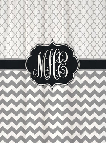 Shower Curtain Chevron and Quatrefoil Monogrammed