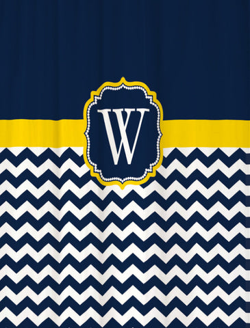 Shower Curtain Chevron Navy and Yellow with Your Monogram