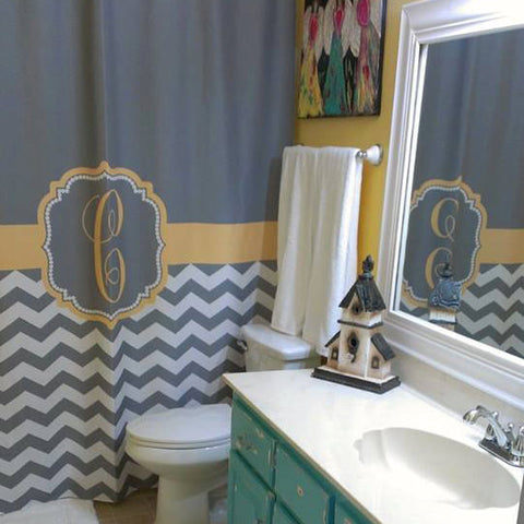 Shower Curtain Chevron Fabric Monogrammed You Choose Colors!