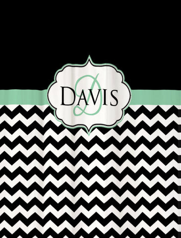 Shower Curtain Chevron Fabric Custom Name Personalization Shown in Black & Mint