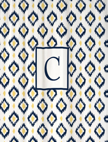 Shower Curtain Ikat Diamonds with Monogram Shown Navy & Butter