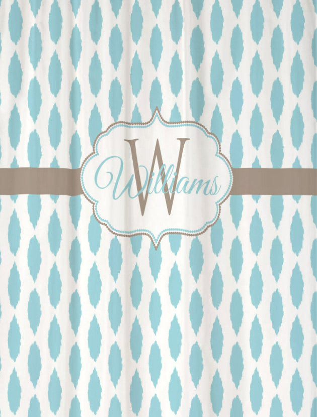 Custom Monogrammed Fabric Shower Curtain Personalized
