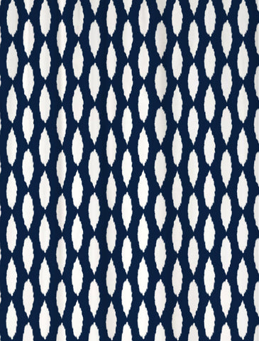 Ikat Shower Curtain You Background and Pattern Colors Shown Navy & White