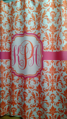 Shower Curtain Damask Monogrammed Your Colors!